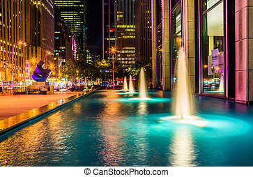Fountains at night, in Rockefeller Center, Midtown...
