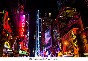 42nd Street at night, in Times Square, Midtown Manhattan,...