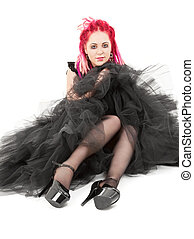 pink hair girl - picture of bizarre pink hair girl over...