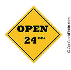 Open 24 hours sign - Open 24 hours road sign, isolated on...