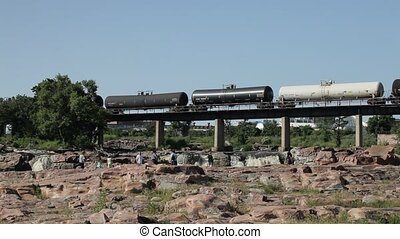 Sioux Falls, South Dakota, USA - Tourist and train on...