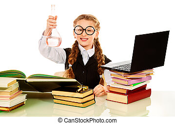smart girl - Young researcher working with a laptop and...