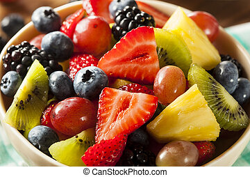Heallthy Organic Fruit Salad with Berries Pineapple and...