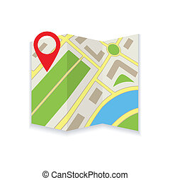Icon foldable maps - Icon foldable card on white background