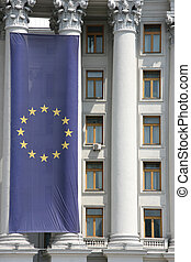 Flag of European Union in building of Ministry of Foreign...