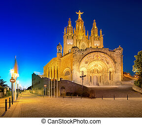 Tibidabo church on mountain in Barcelona