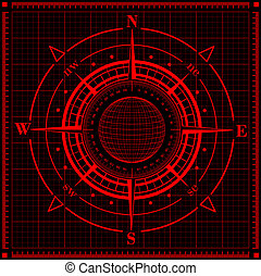 Radar compass rose with globe Vector illustration