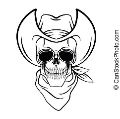 Skull cowboy Warrior vector illustration