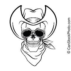 Skull cowboy Warrior vector illustration