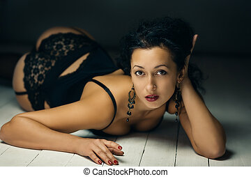 Brunette beauty - Fashion artistic portrait of young sexy...