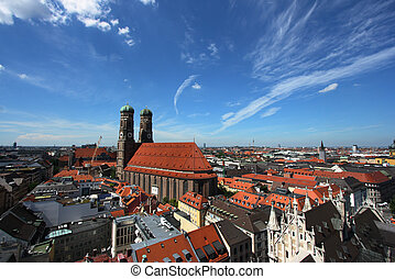 Munchen - Cityscape of Munich, Bavaria, Germany seen from...