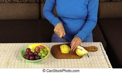 hand cut pear fruit table