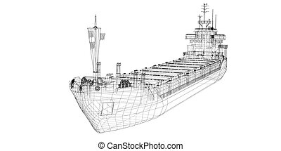 barge , ship - barge Cargo  model body structure, wire model