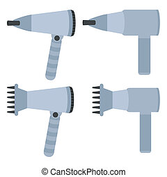 hairdryers set on a white background