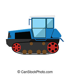 Caterpillar tractor - Blue caterpillar tractor on a white...