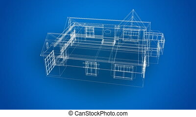 3d animated blueprints - 3d animated blue prints of a house