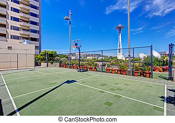 Basketball court. Residential building in downtown, Seattle....