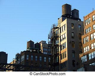 Water tanks, Manhattan, New York
