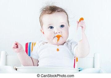 adorable, bebé, niña, comida, vegetales,...