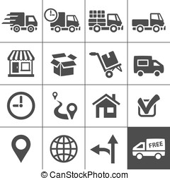 Transportation icons set. Simplus series - Logistic and...