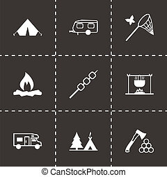 Vector black camping icons set on black background