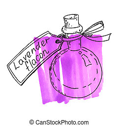 Flask with lavender essence - A bottle of lavender oil and a...