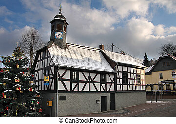 Town Hall and Christmas tree - Old City Hall of Engenhahn in...