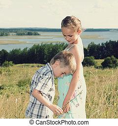 paisagem, irmã, vista, irmão, costas