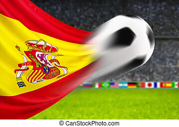 Football Spain - Soccer ball in fast motion in front of the...