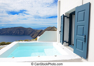 The sea view jacuzzi at luxury hotel, Santorini island,...