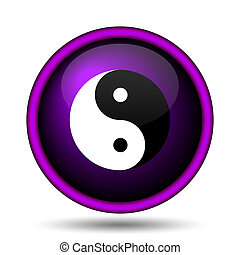 Ying yang icon Internet button on white background