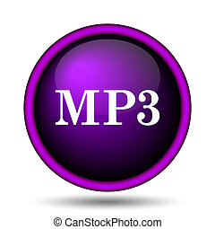 MP3 icon. Internet button on white background.