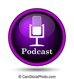 Podcast icon Internet button on white background