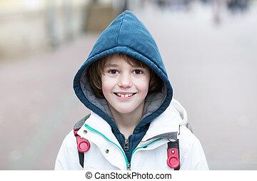 男孩, 學校, 背包, 步行, 街道, 冷, 天, 愉快