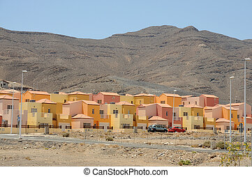Urbanization near Gran Tarajal, Canary Island Fuerteventura,...