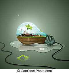 Light bulb ecology concept design background, with sprouts...