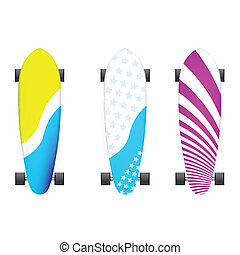 Vector illustration of colored longboards - Set of colored...
