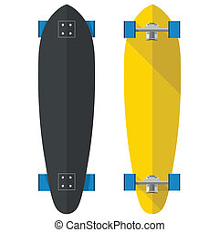 Flat vector illustration of oval longboards - Black and...