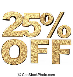 inscription 25 percent off - glossy green three-dimensional...