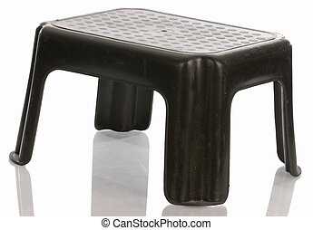 step stool - black step stool with reflection on white...