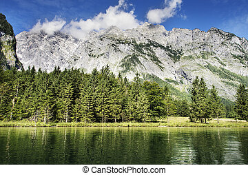 Koenigssee and Watzmann - View to Koenigssee and mountain...
