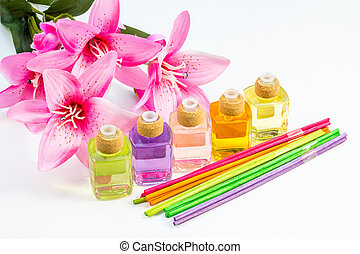 Scented oil - Studio shot of bottles of scented oil, multi...