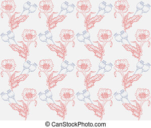 Poppies background hand drawn illustration