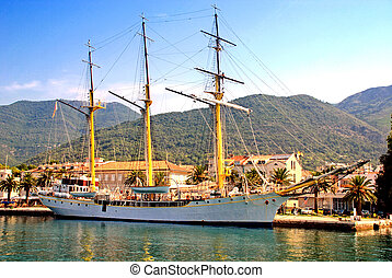 sail ship at the pier in Tivat, Montenegro - TIVAT,...