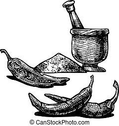 paprika - Vector illustration of a paprika stylized as...