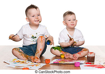 Two painting little boys
