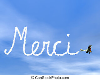 Merci, french thank you message, from biplan smoke - 3D...