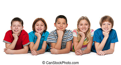 Group of five cheerful children