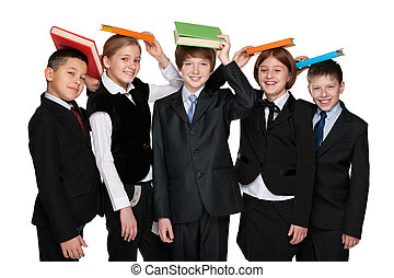 Group of happy students with books