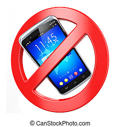 No mobile phone sign - Creative abstract forbidden cellular...